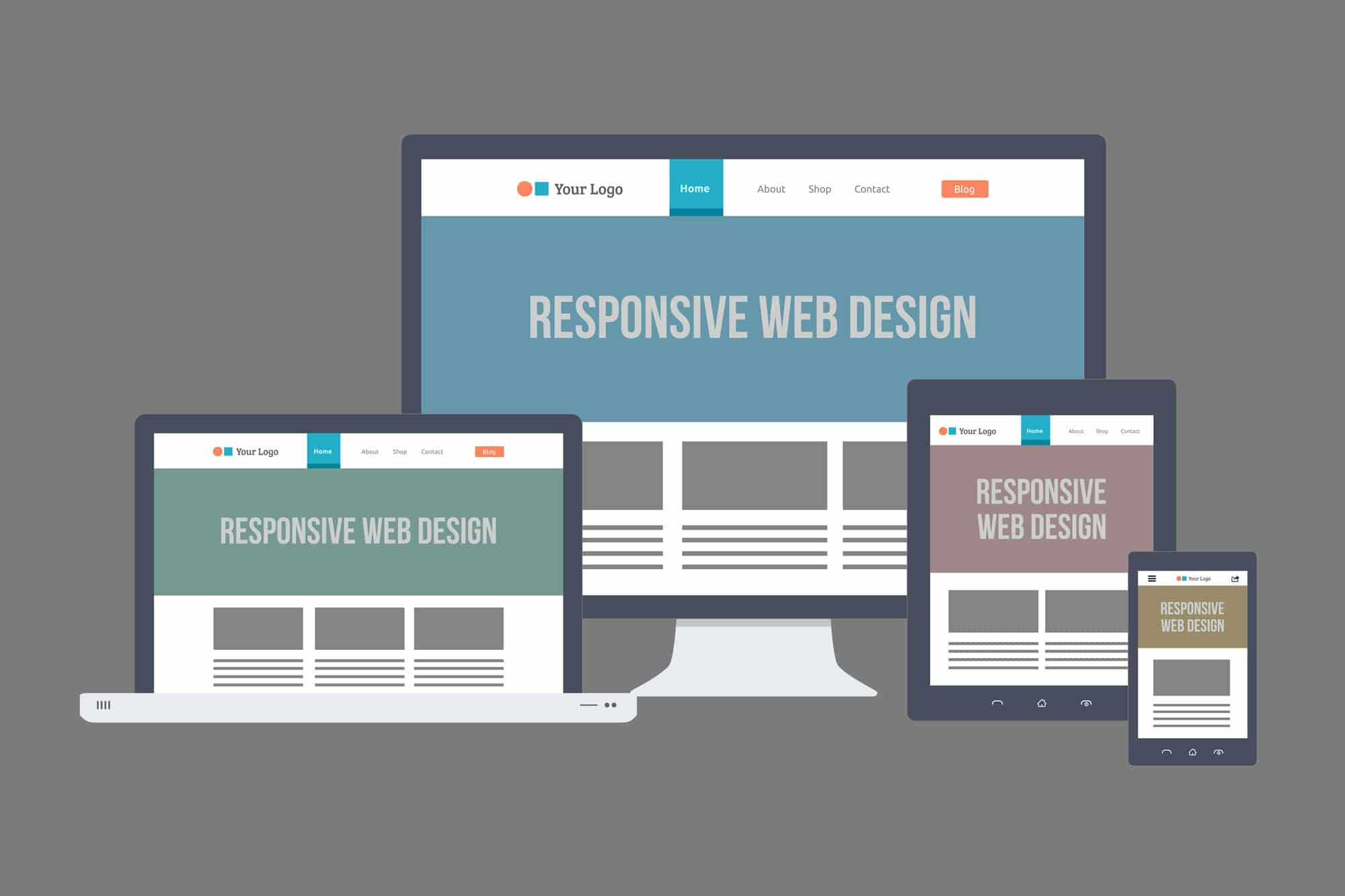 flat responsive webdesign apparaten